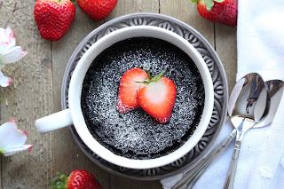 Molten Chocolate Hazelnut Strawberry Mug Cake For Two