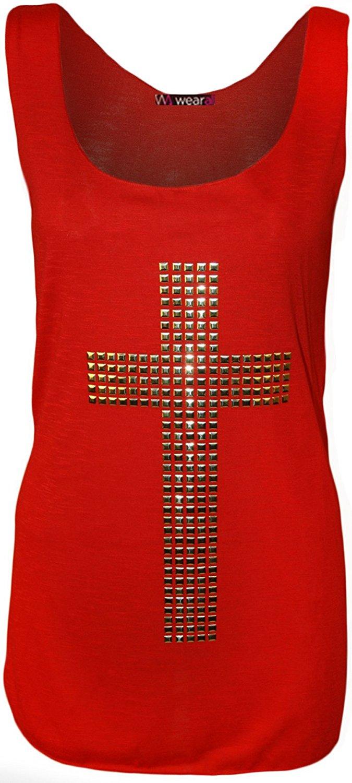 Débardeur avec un croix orné de perles et à dos nageur - Hauts - Femmes - Tailles 36 à 42