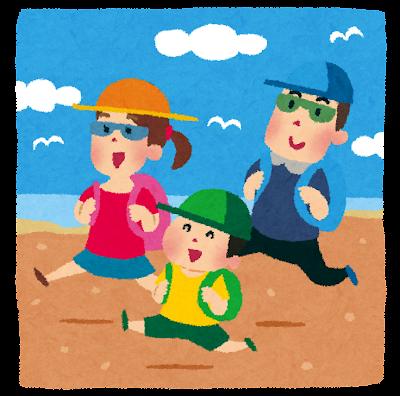 旅行のイラスト「家族で海水浴」