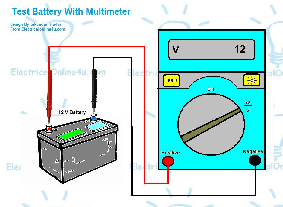 how to test battery with multimeter digital analog electrical online 4u. Black Bedroom Furniture Sets. Home Design Ideas