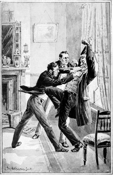 Sherlock Holmes and Inspector Lestrade capturing Jefferson Hope in A Study in Scarlet