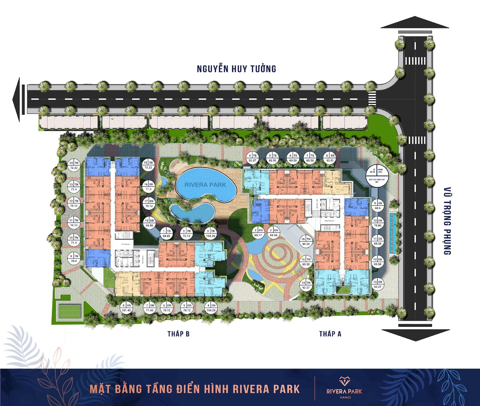 Hình ảnh Mặt bằng Rivera Parka 69 Vũ Trọng Phụng | Tháp A va B