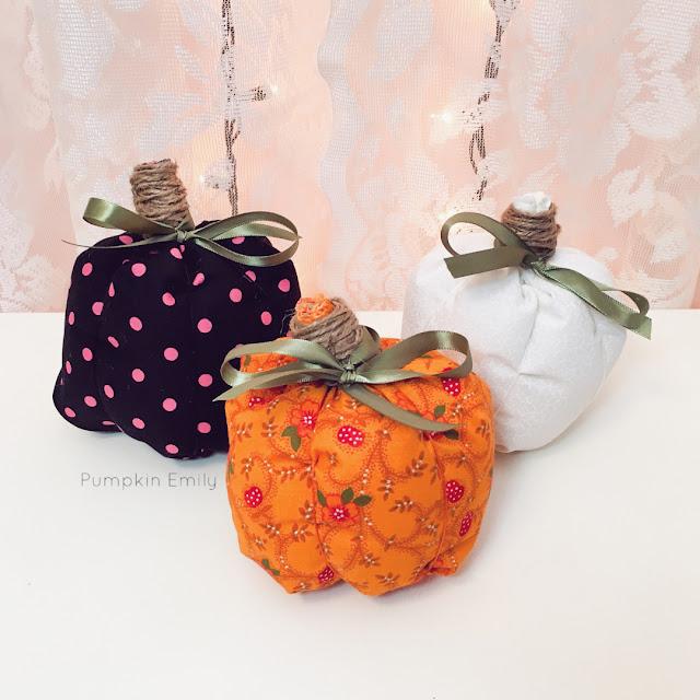 Three No Sew Fabric Pumpkins