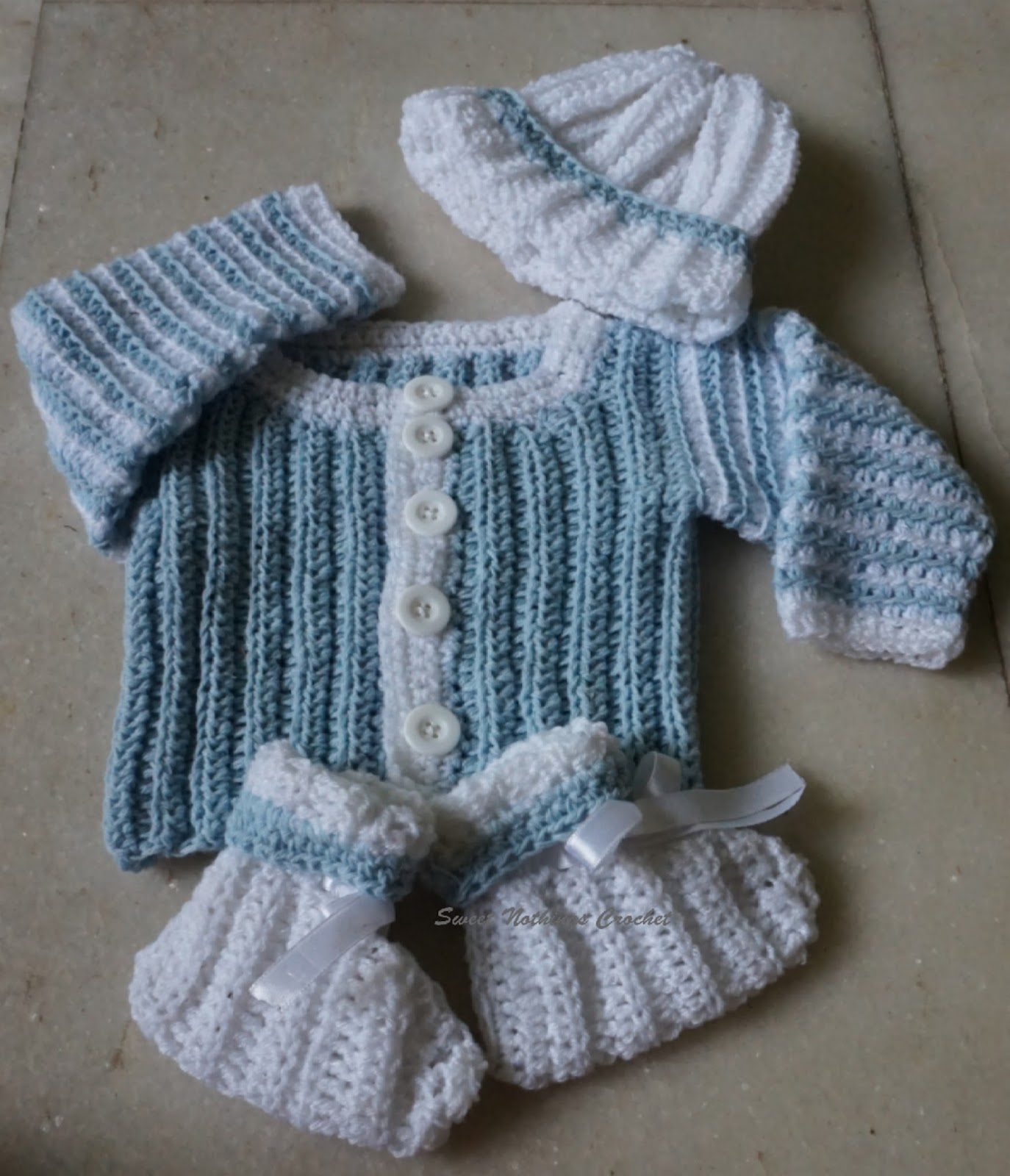 Sweet Nothings Crochet BABY BOY JACKET with matching cap n socks