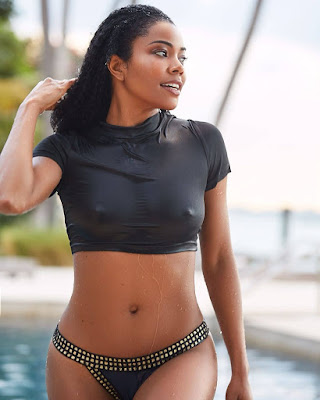 Gabrielle Union-Wade Flashes Her Nipples In Wet Crop Top On IG.