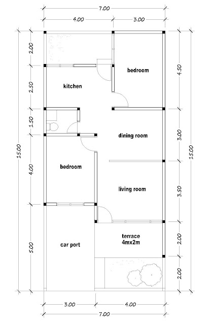 layout of house plan A-19b