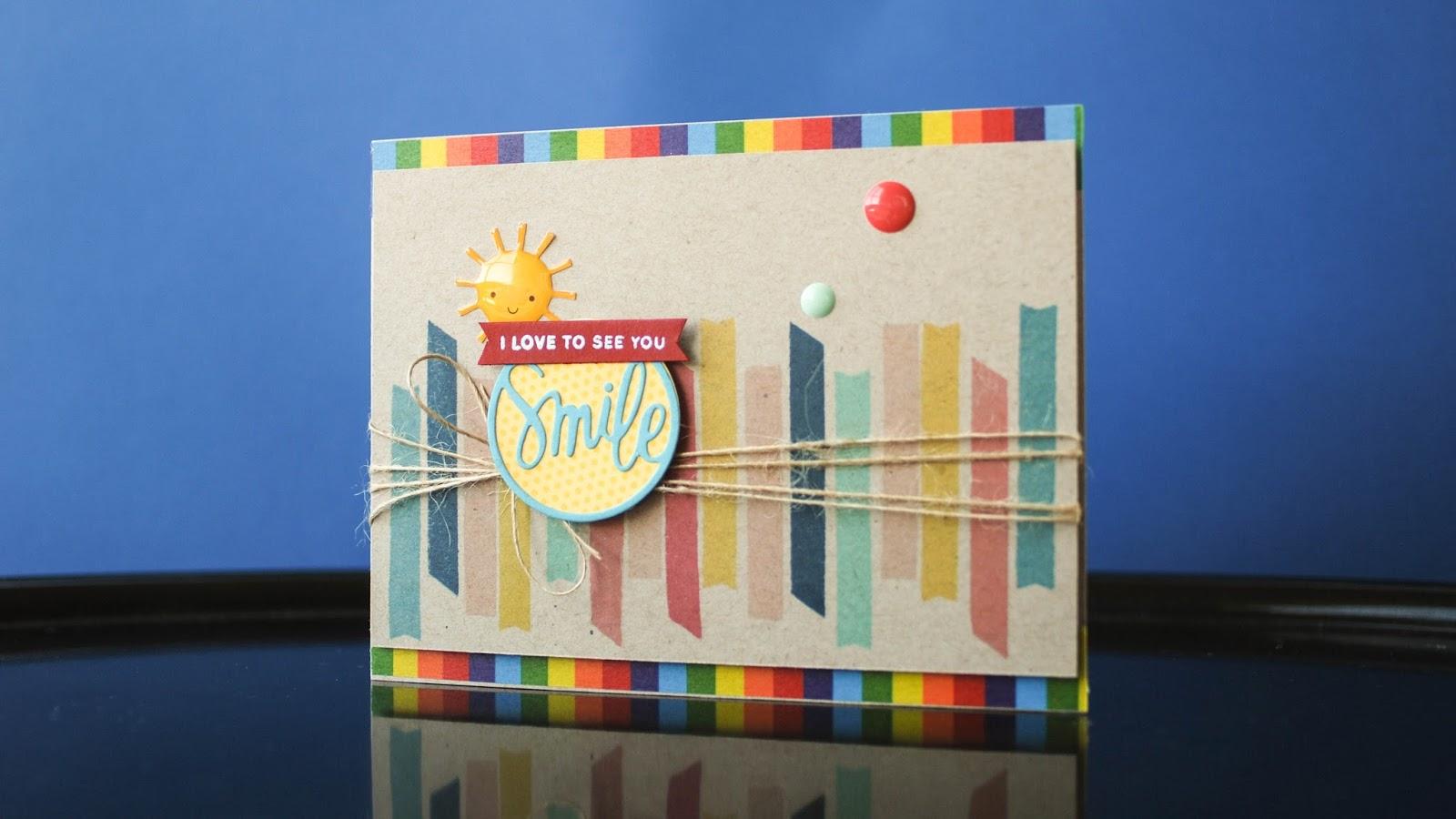 simon says stamp card kit june 2015 -stamping on kraft paper using dye inks