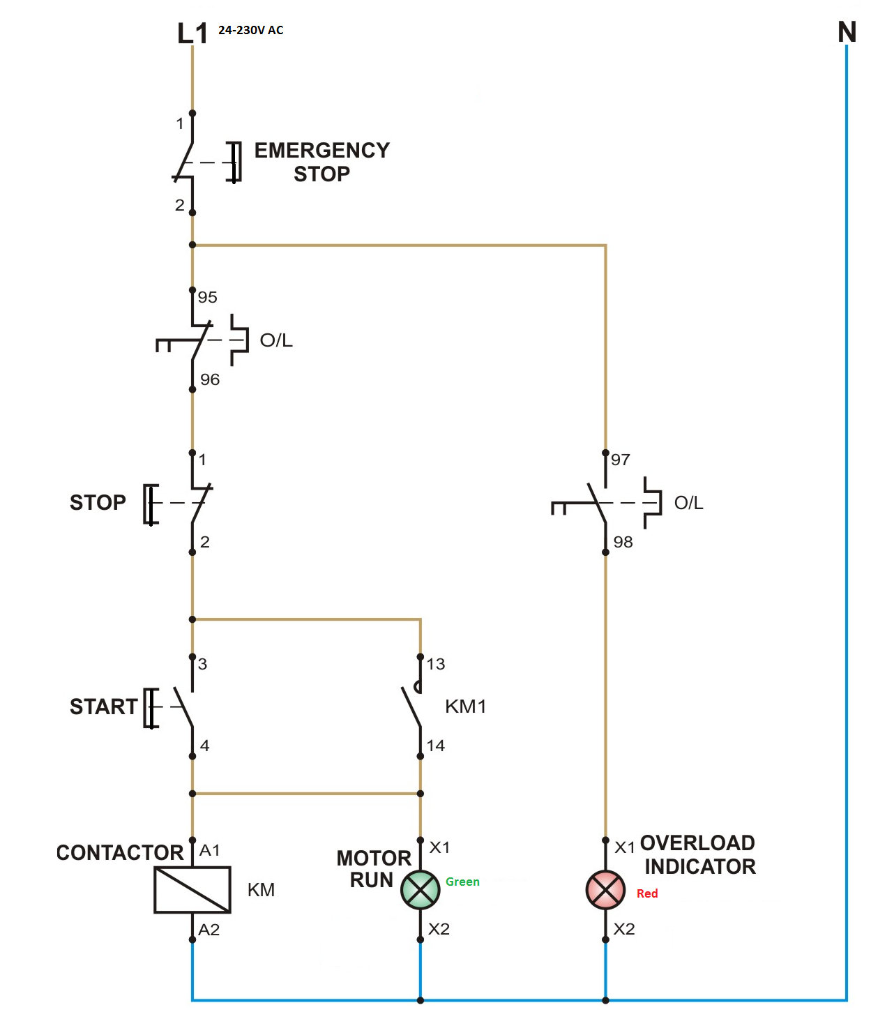 medium resolution of control circuit of dol starter