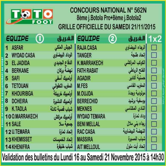 TOTO FOOT COUNCOURS NATIONAL N 562N