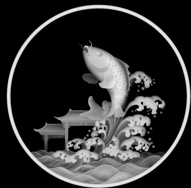 Mẫu cá chép Vượt Vũ Môn 3D free BMP