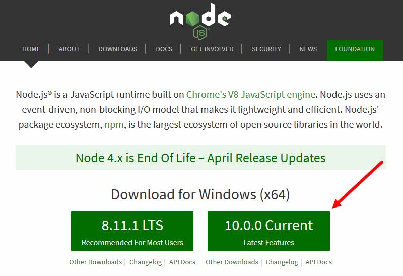 Download Node.js installer and install it
