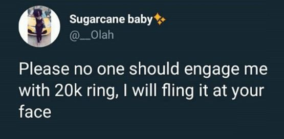 Nigerian Lady Gets Slammed After She Says She Won't Accept 20k Engagement Ring