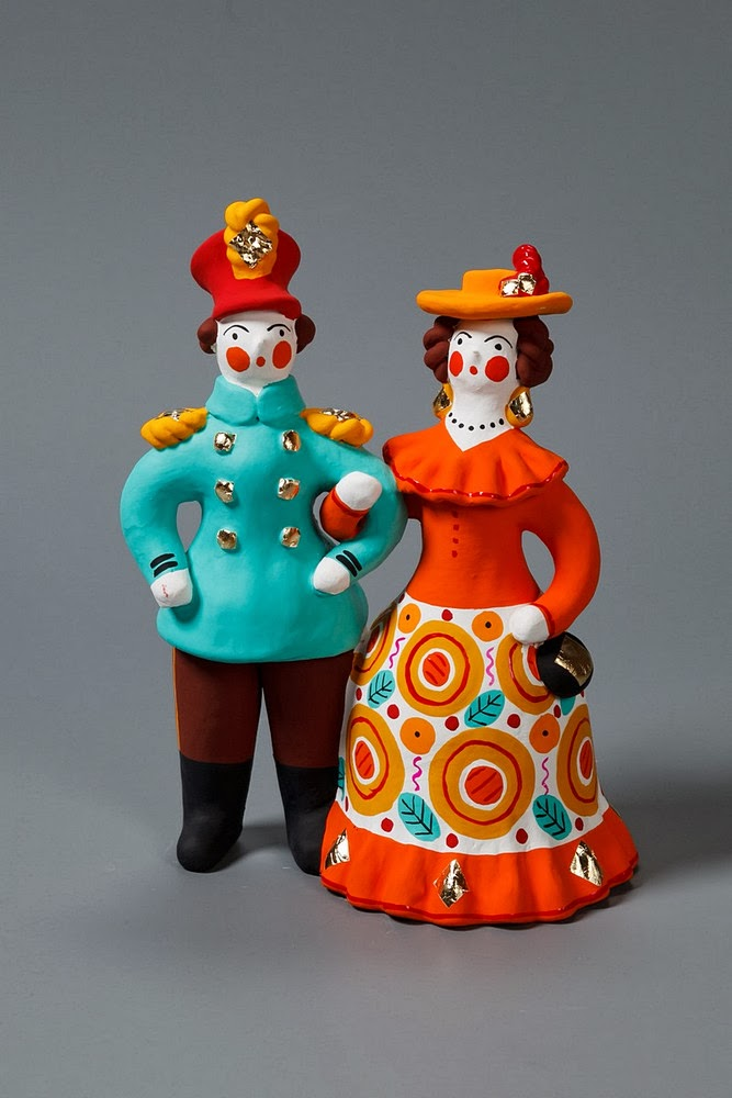 Dymkovo toys, folk ceramic figurines