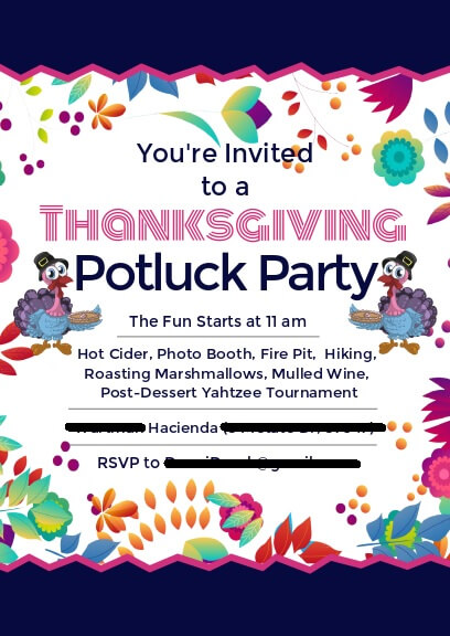 colorful invitation for thanksgiving