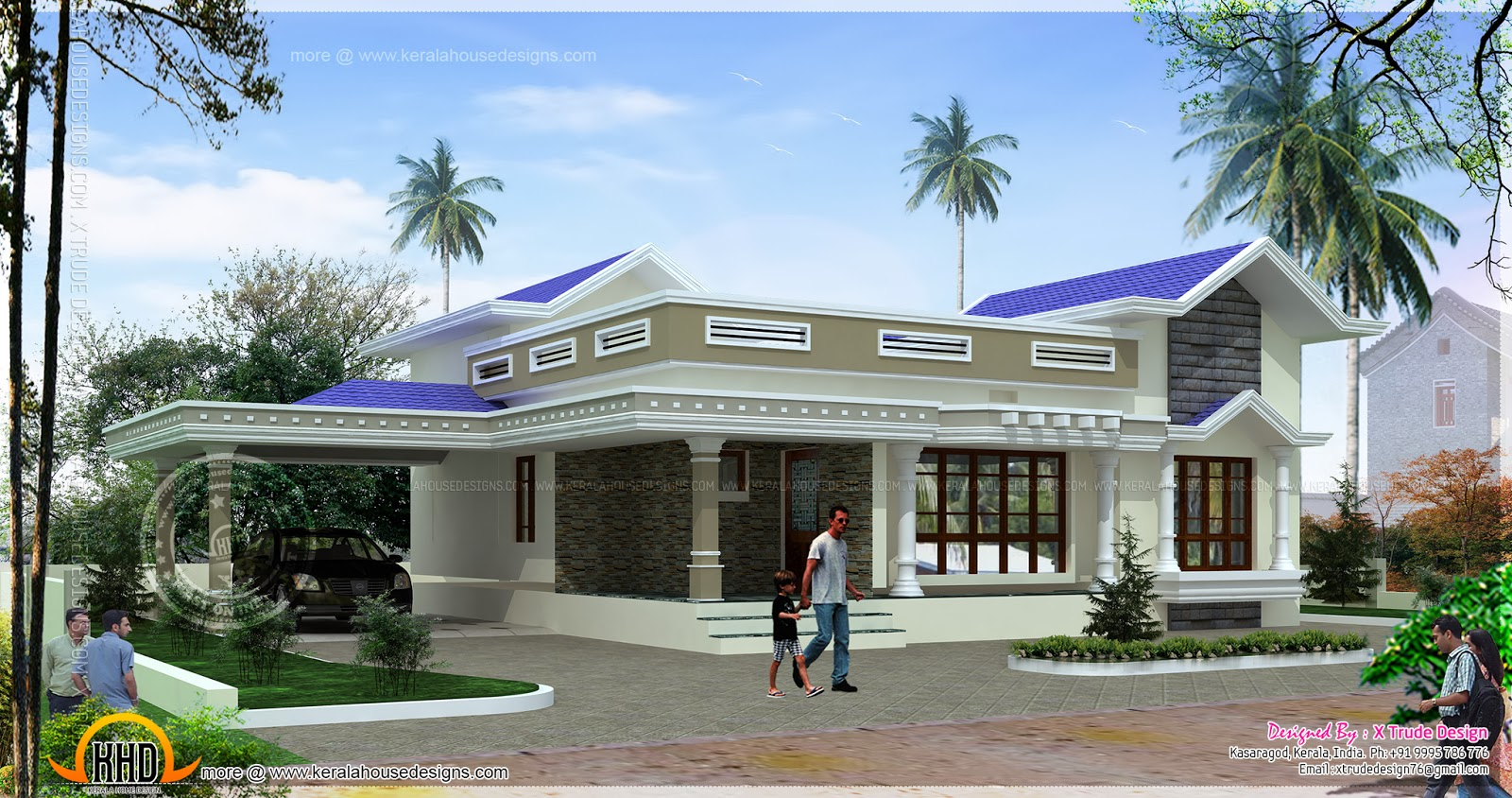 Single Floor House Front Elevation Designs In Kerala : Single floor small house design kerala home and