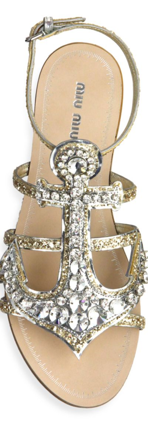 Miu Miu Anchor Crystal Flat Sandals