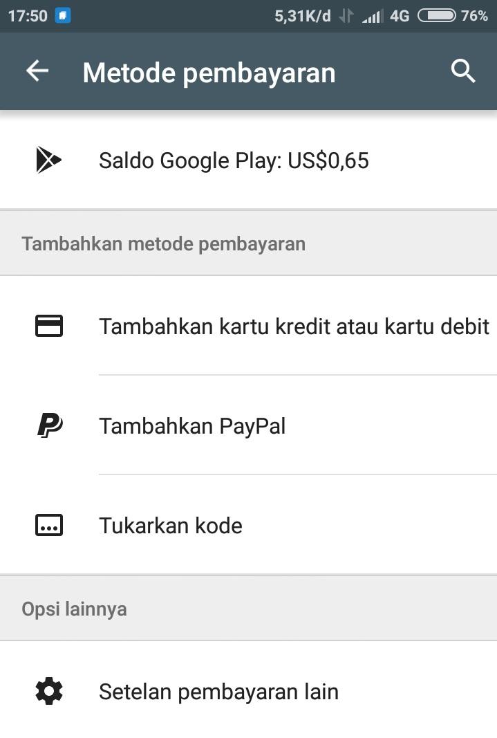Metode Pembayaran Play Store