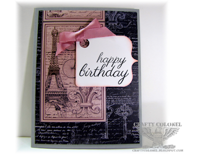 Crafty Colonel Donna Nuce for Club Scrap Paris Flea Market blog hop, Birthday Card