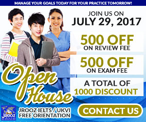 JROOZ FREE IELTS/IELTS UKVI Open House Promo  Join us on July 29, 2017  Know the basics of IELTS and IELTS UKVI  GET 1000 OFF  Manage Your Goals Today For Your Practice Tomorrow!