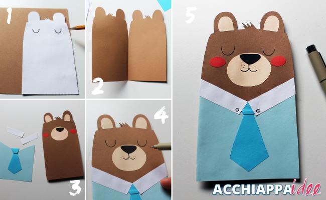 tutorial per realizzare un biglietto di auguri a forma di orso per la festa del papà