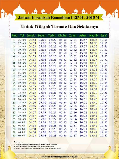 Jadwal Imsakiyah Ternate Tahun 2016 / 1437 H
