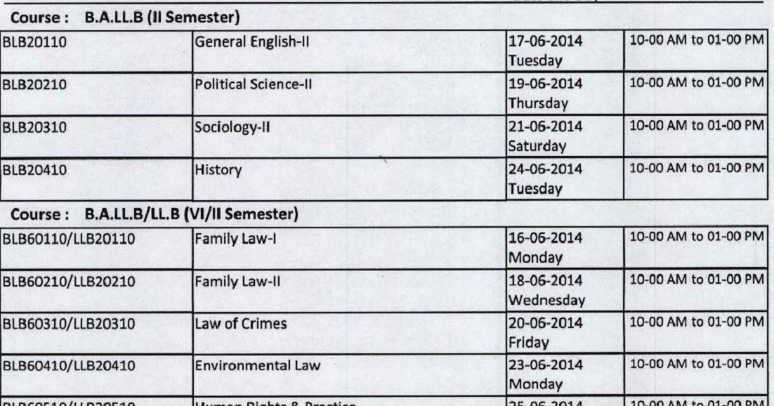 Krishna University BALLB, LLB June 2014 Timetable