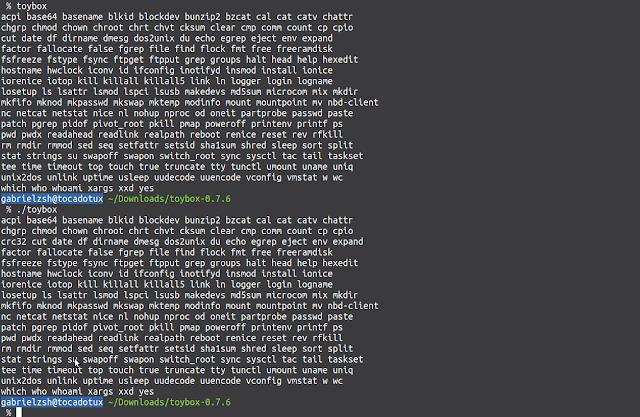 Comparando os comandos entres as versões 0.7.5 e 0.7.6 do toybox de uma forma bem ilógica