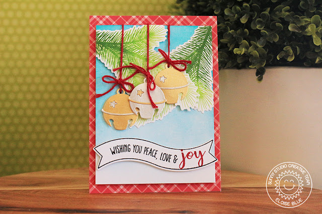 Sunny Studio Stamps: Silver Bells Dangling Bells Christmas Card by Eloise Blue