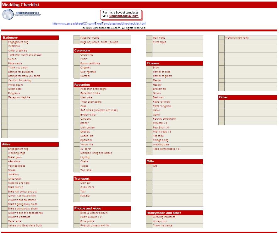 Wedding List Checklist: All Abouts Wedding: Wedding Checklist