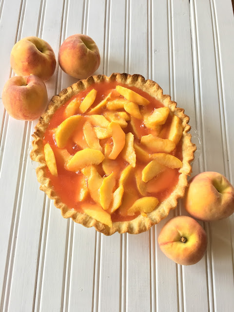 Fresh Glaze Peach Pie, Dessert, Peaches