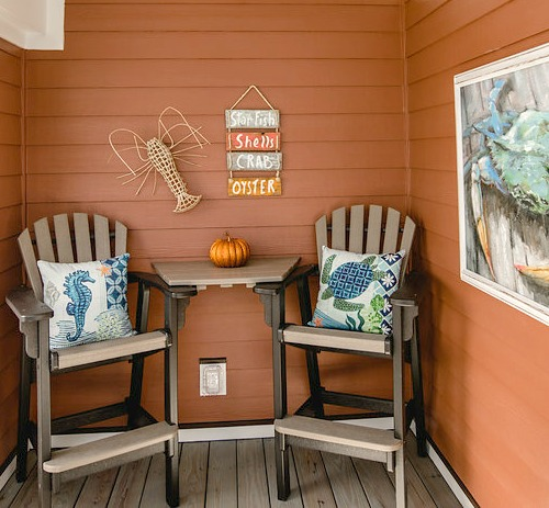 Fall Beach Decor in an Orange Cottage Completely Coastal