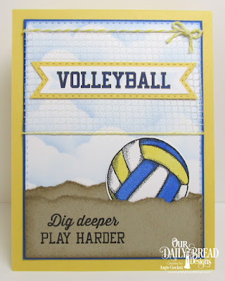 Our Daily Bread Designs Stamp/Die Duos: Volleyball, Custom Dies: Pennant Flags, Double Stitched Pennant Flags, Double Stitched Rectangles, Clouds and Raindrops