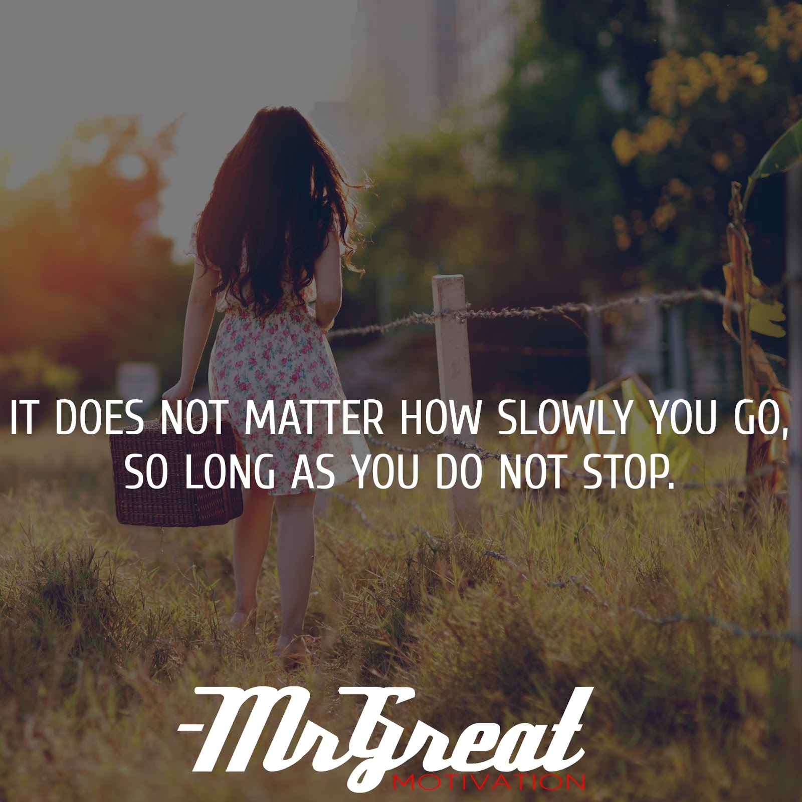It does not matter how slowly you go, so long as you do not stop. - Confucius