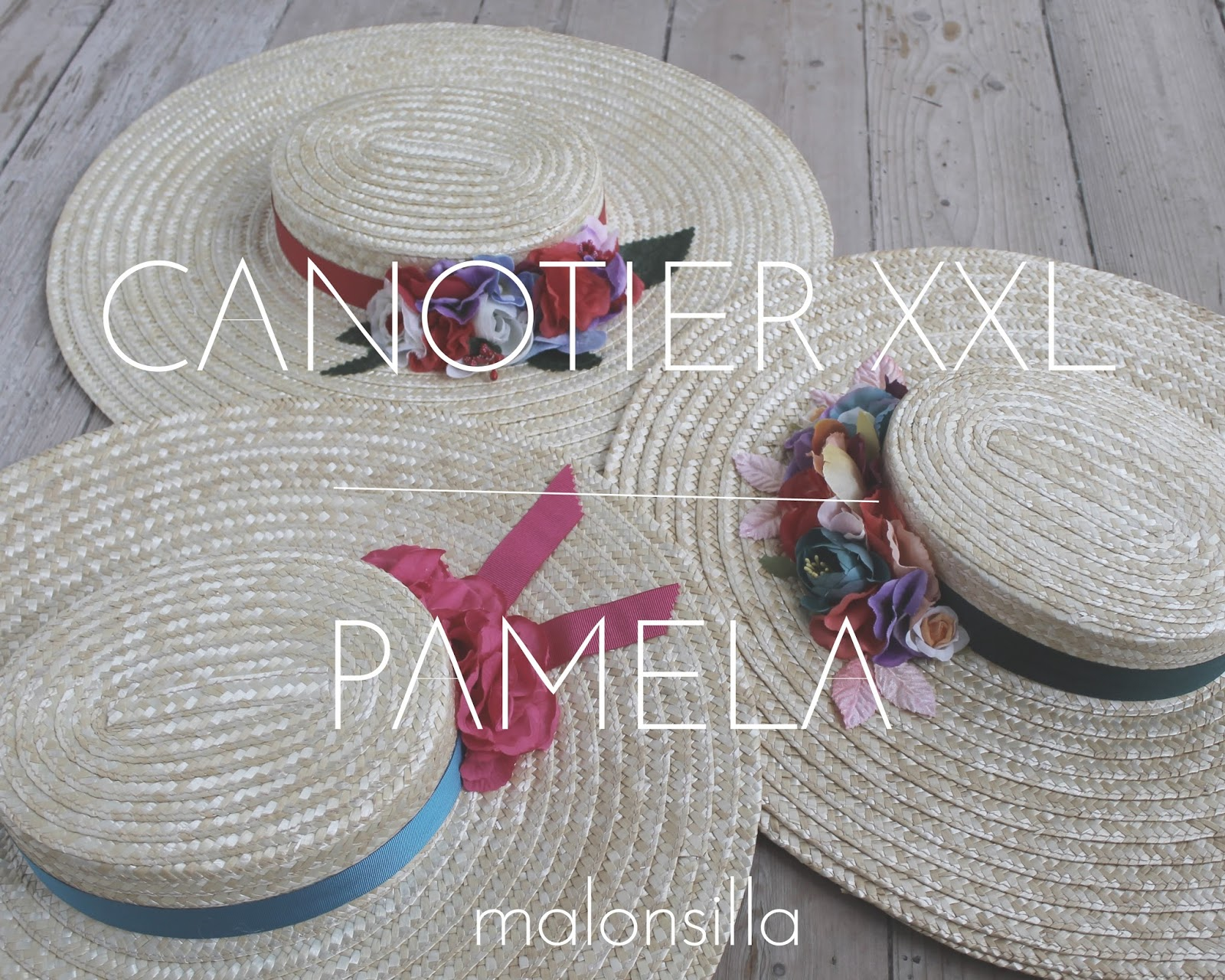 Conjunto de tres pamelas de rafia tipo canotier con flores by malonsilla 2f1d9ba3f98
