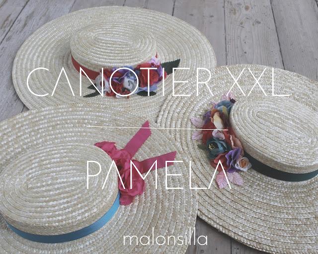 Conjunto de tres pamelas de rafia tipo canotier con flores by malonsilla