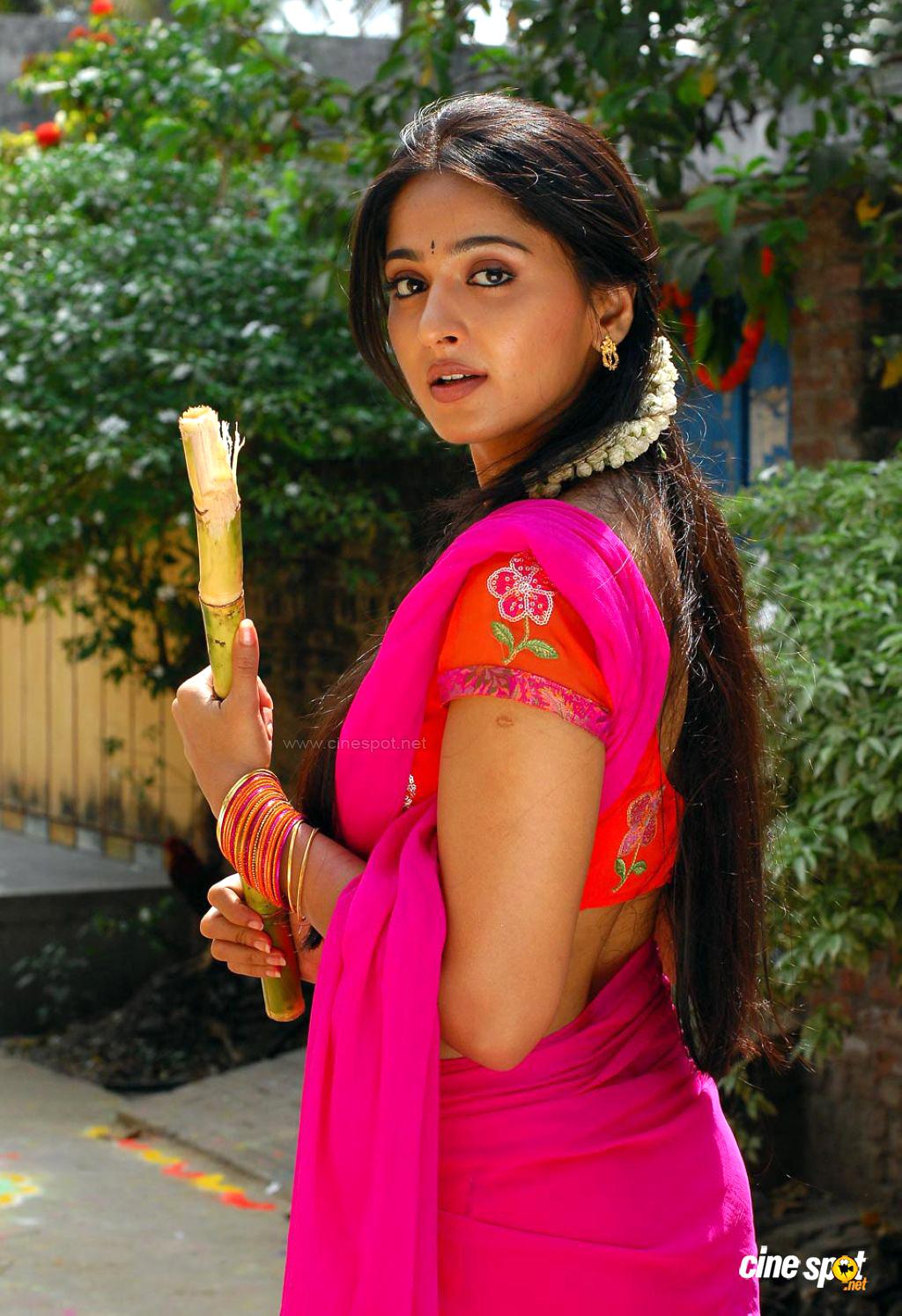 Actress Anushka Shetty Hot Hip Navel Photos In Saree
