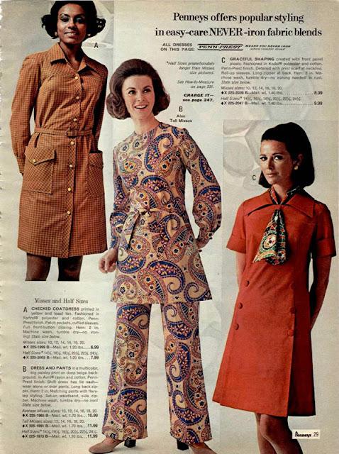 Фото из журнала 70-х годов с платьем и брюками