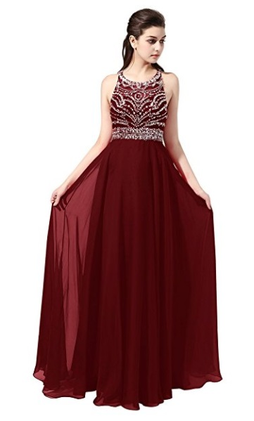 Burgundy A-Line Long Chiffon Evening Gown - burgundy prom dress