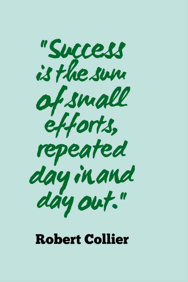 """Success is the sum of small efforts, repeated day in and day out."" Robert Collier"