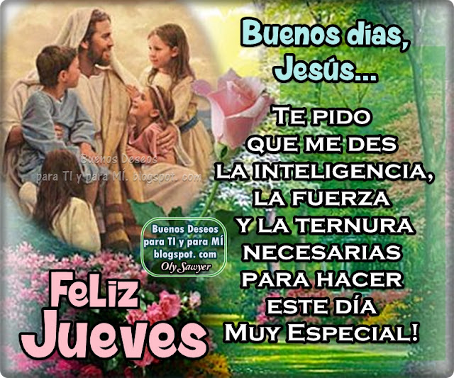 BUENOS DÍAS, JESÚS...  Te pido que mes la inteligencia, la fuerza y la ternura necesarias para hacer este día Muy Especial!  FELIZ JUEVES !
