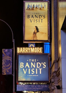 "Marquee signs for the Broadway musical ""The Band's Visit,"" 243 W 47th Street, New York, New York"