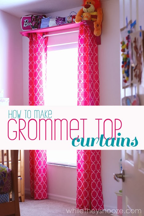 while they snooze how to make grommet top curtains. Black Bedroom Furniture Sets. Home Design Ideas
