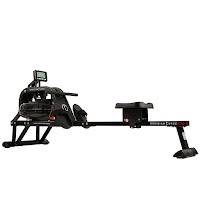 """Sunny Health & Fitness SF-RW5713 Obsidian Surge 500 Water Rower Rowing Machine, low priced water rower with 3 hydro steel blades in water tank, bungee cord recoil system, high profile seat, 49"""" long sliding seat rail system, LCD monitor"""