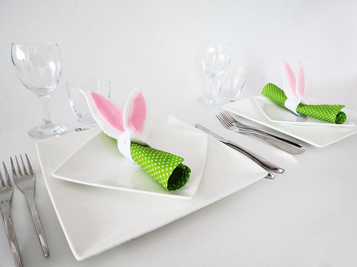 DIY bunny ears napkin rings