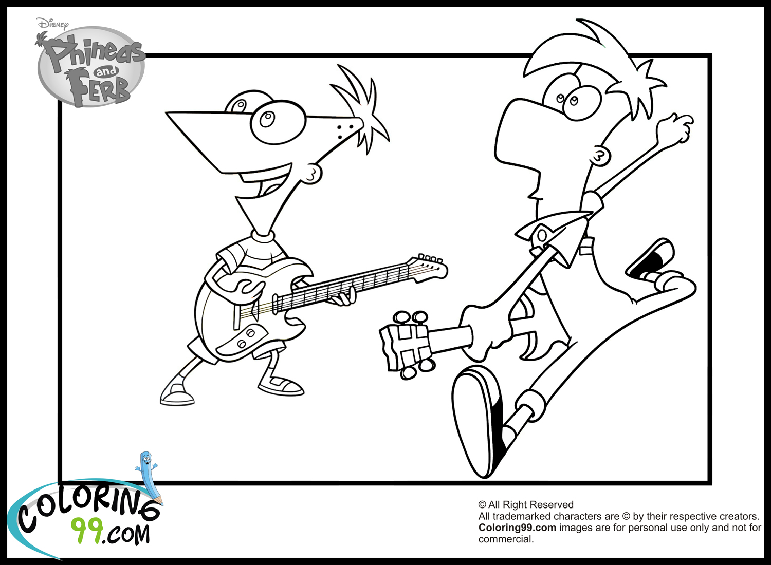 Phineas And Ferb Guitar: Phineas And Ferb Coloring Pages