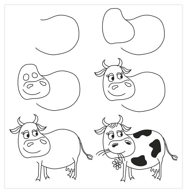 20 dessins faciles pour apprendre dessiner aux enfants made home - Dessiner une vache ...