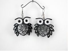 Simple handmade quilling owl earring designs for kids - quillingpaperdesigns