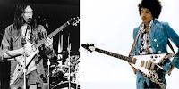 Neil Young und Jimi Hendrix mit Flying V
