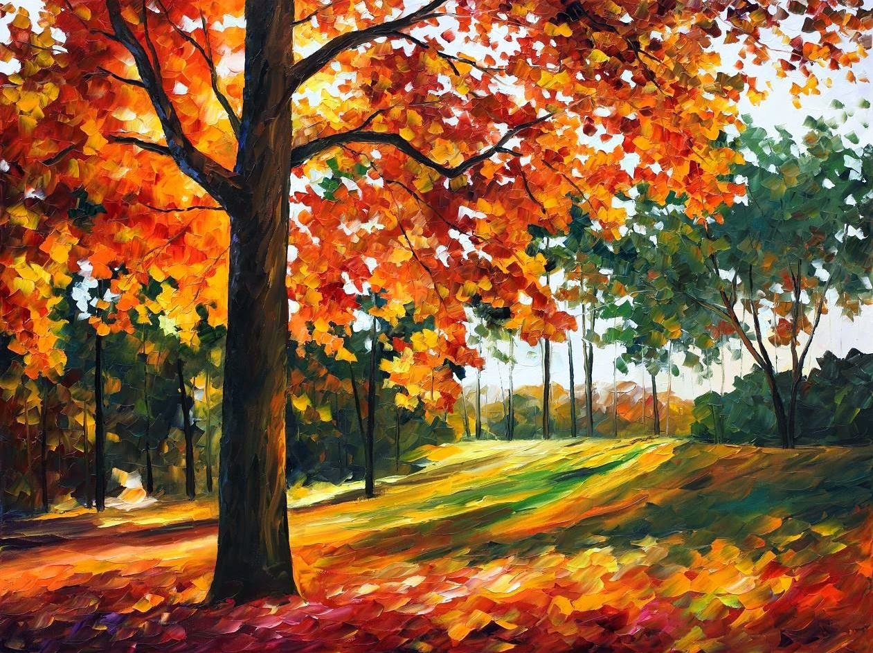 autumn fall painting wallpaper leonid afremov freedom of autumn park