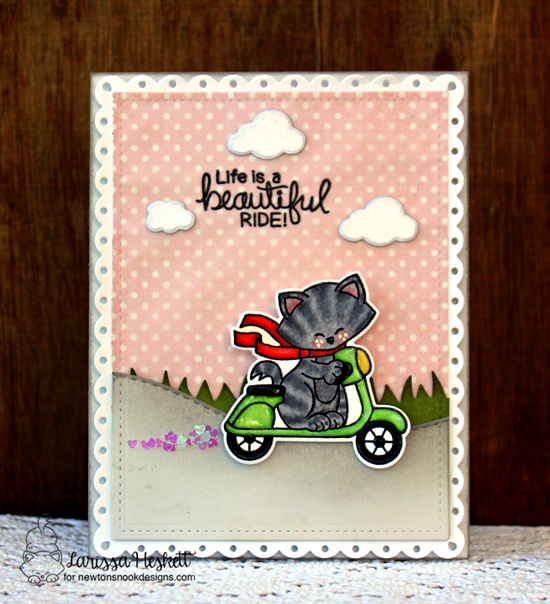 Life is a Beautiful Ride | Cat on Scooter card by Larissa Heskett | Newton Scoots By Stamp Set by Newton's Nook Designs #newtonsnook